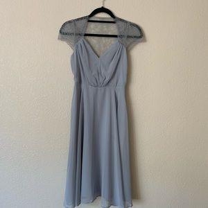 Dusty Blue Lace Wedding Guest/Bridesmaid Dress